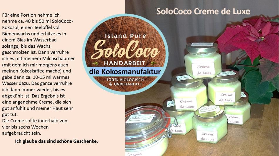 Kokoscreme Rezept mit SoloCoco Kokosöl und Bienenwachs