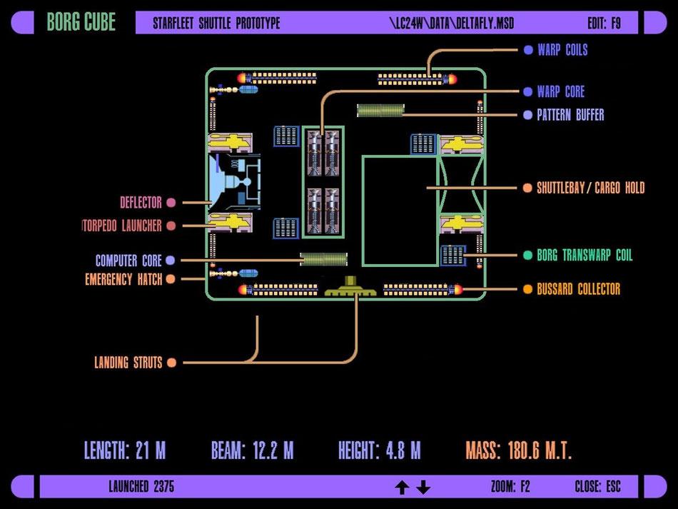 LCARS-Schema eines Borgcubus | Grafik: J. Nitzsche