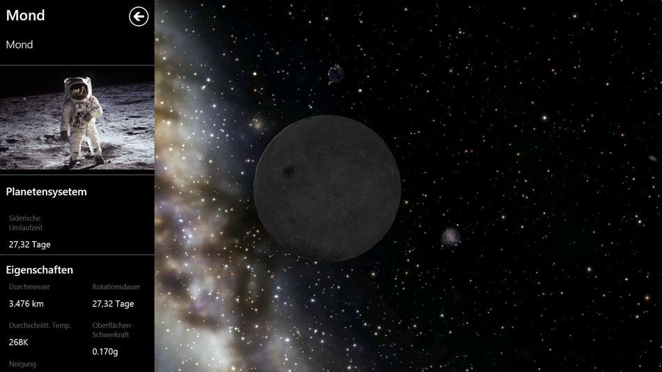 Der Mond und darüber, im Hintergrund die Erde