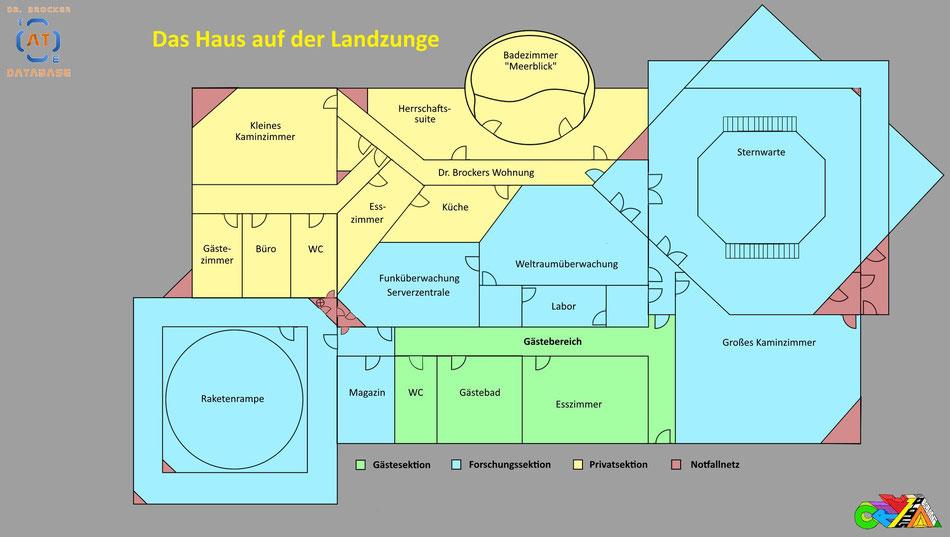 Das Haus auf der Landzunge - Der Gebäudeplan | Grafik: J. Nitzsche (150222)