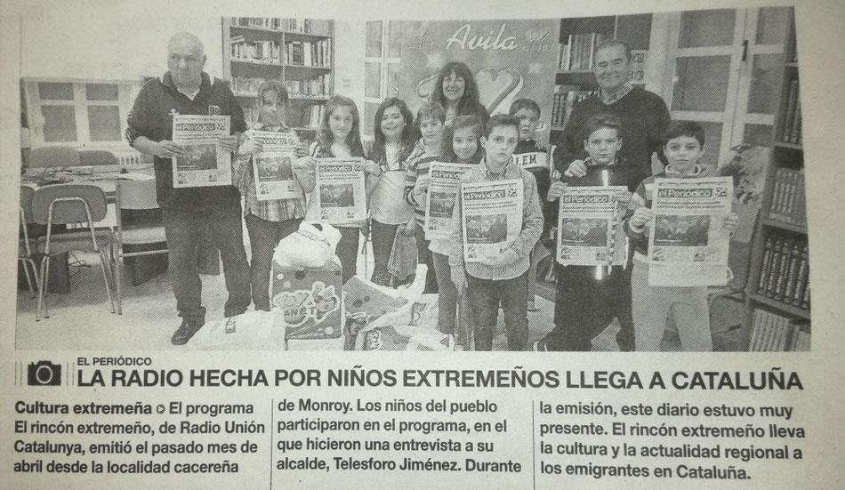 En la imagen podemos ver a nuestros niños y niñas que el pasado mes participaron en el programa El rincón extremeño, de Radio Unión Catalunya, la cual hace llegar a Cataluña toda nuestra actualidad y cultura hasta allí.