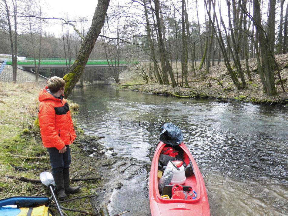 Start auf der Dobrzyca bei Ilowiec