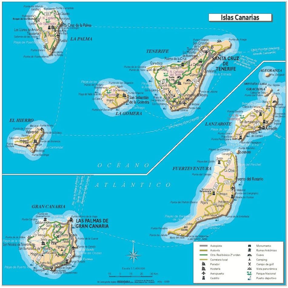Oben links auf der Karte: La Palma als westlichste der 7 Kanarischen Inseln