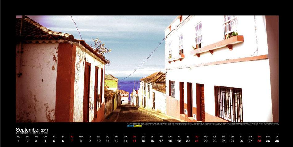 """Blatt September, Fotokalender """"La Palma 2014 - Zwischen Traum und Wirklichkeit"""", EDITIONCANARIAS, deutsche Ausgabe"""