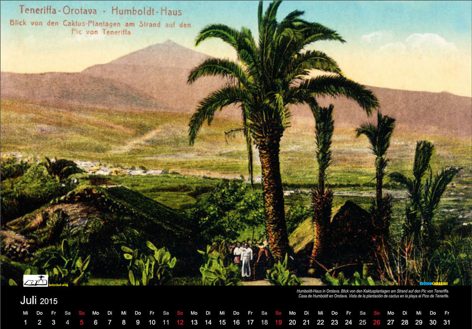 Postkartenkalender 2015, Geimschaftsausgabe EDITIONCANARIAS, KONKURSBUCH VERLAG TÜBNGEN, Kalenderblatt Juli 2015