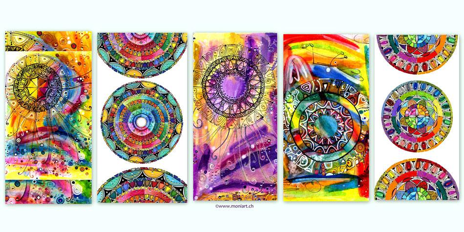 Kunst Mandala Aquarell Karten  Farben bunt