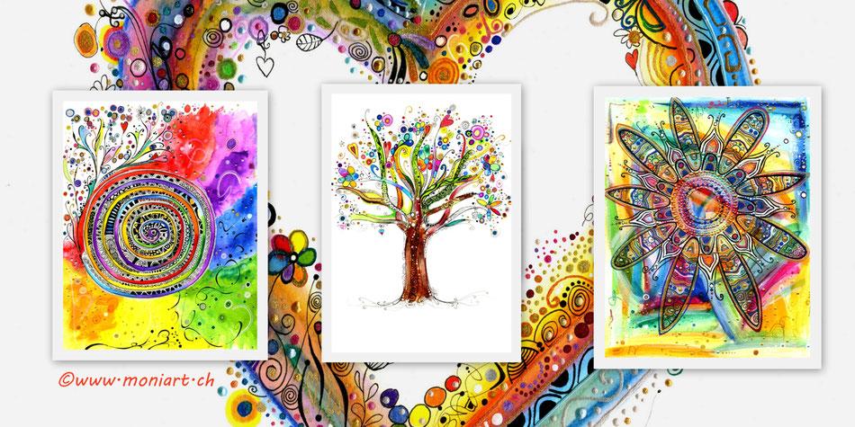 Designs Feder kunst mandala Farben formen moniart
