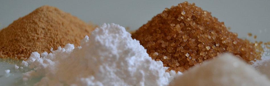 aufgehäufte, verschiedene Zuckerarten