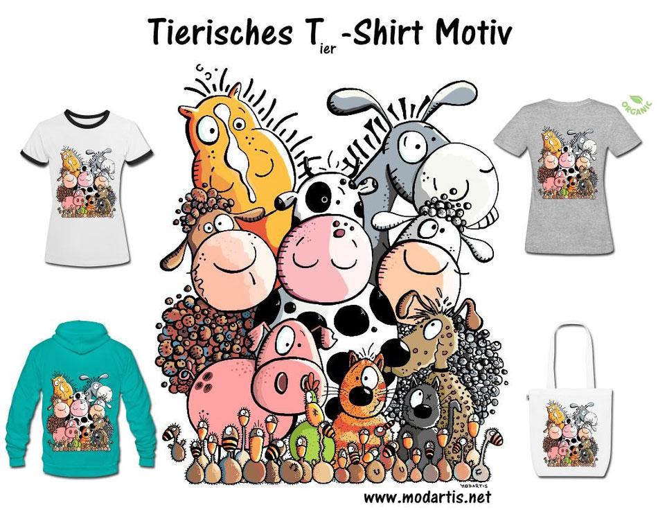 Tierhaufen T-Shirt Motiv