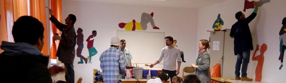 Mohr-Villa goes Camp - Ein Raum für alle - Ramma Damma und Malprojekt zur Einrichtung eines Aufenthaltsraumes in der Bayernkaserne