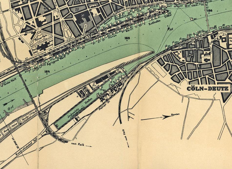 Der Kartenausschnitt von 1911 zeigt den ausgebauten Industrie-Hafen, noch »Schnellert-Hafen« genannt.