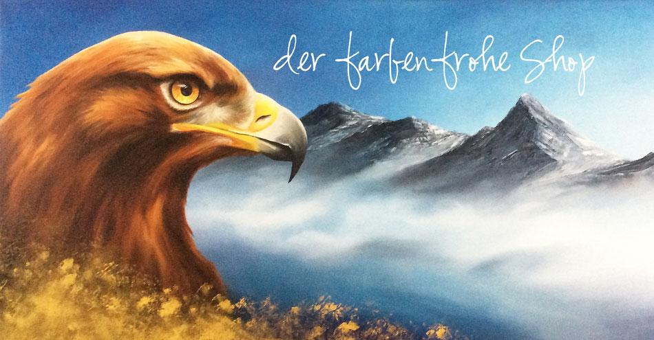 Adler - Steinadler - Gebirge - Öl-Gemälde - Malerei - Shop - farbenfroh