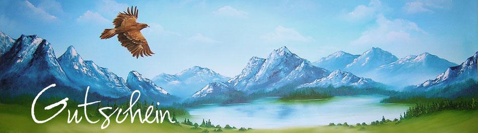 Gutschein - Adler - Steinadler - Gebirge - Landschaftsmalerei - Tiermalerei - Öl-Gemälde
