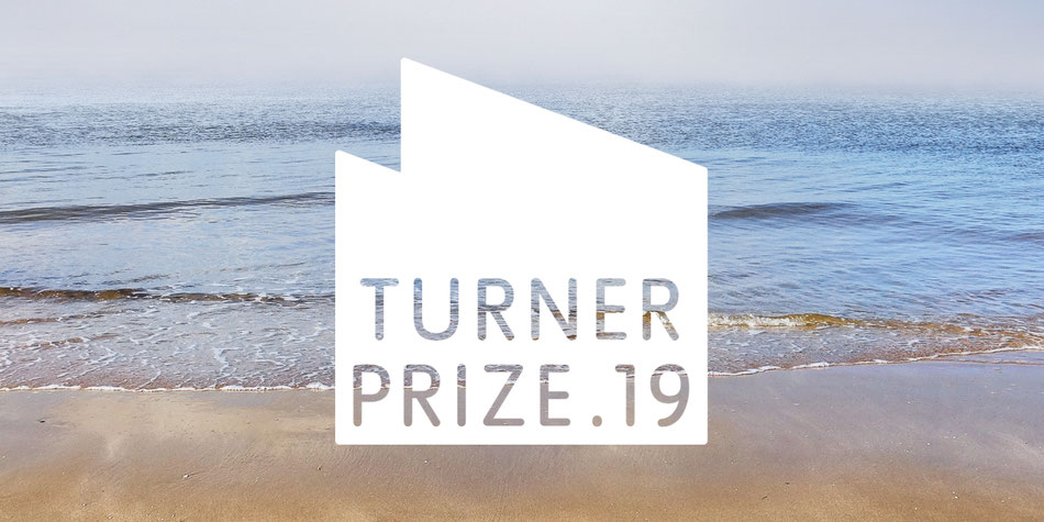 Turner Prize. 19 poster Margate's Turner Contemporary outline and glorious sandy beach