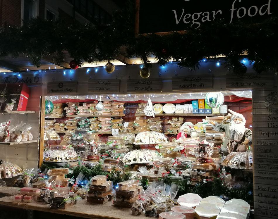 Vegan Christmas Stall, Whitefriars, Canterbury. Photo: MSmith