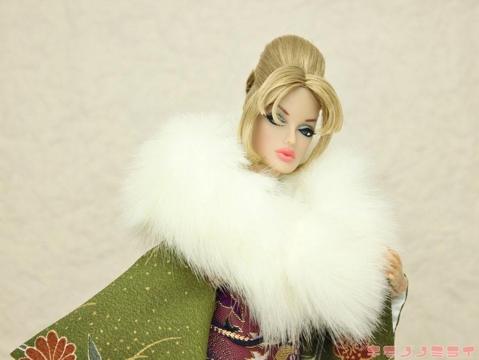 ドール ショール,振袖 ファー,人形 着物,1/6 和服,Fashion Royalty kimono