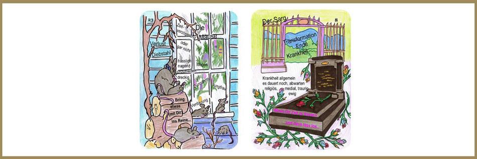 Lenormandlernkarten Mäuse und Sarg