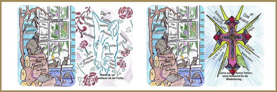 Mäuse, Fuchs und Kreuzkarte Lenormand Lernkarten
