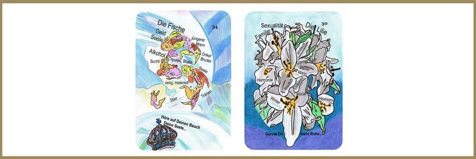 Lenormandkarten Fische und Lilie