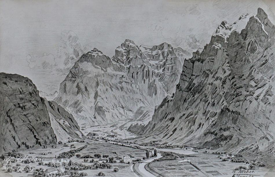 Landschaftsbild mit Mollis. Netstal im Hintergrund