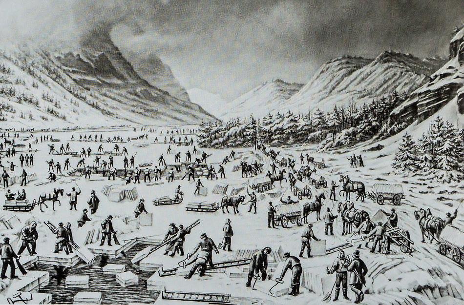 """Gletschern im Klöntal, Lithographie von J. Weber in """"Neue Alpenpost"""" vom 17. März 1877."""