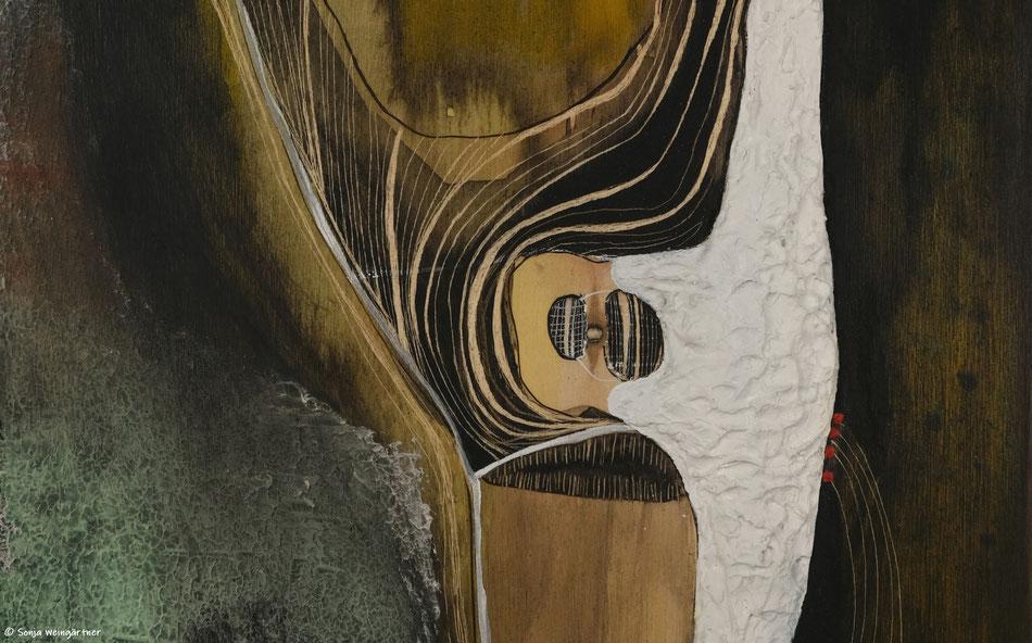 I´m a Lori on a Tree (Ausschnitt) | 2020 | Gouache, Tusche auf Holz (Multiplex Birke) | 20 x 20 cm