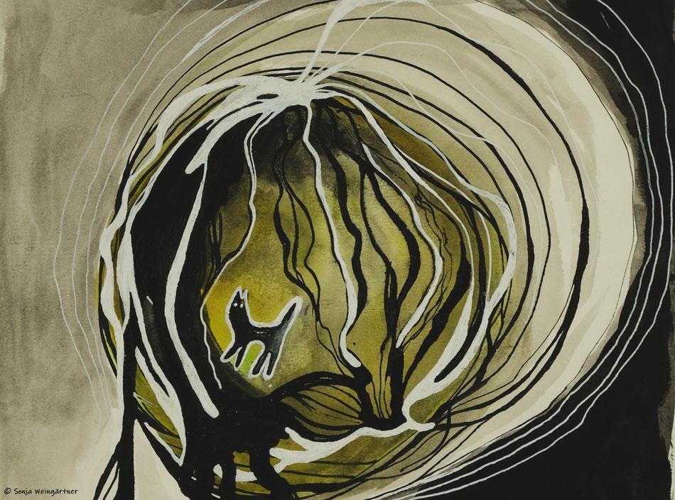 Katzen Noir (Ausschnitt) | 2018 | Tusche, Stift | Aquarellfarbe auf Papier | ca. 29 x 21cm