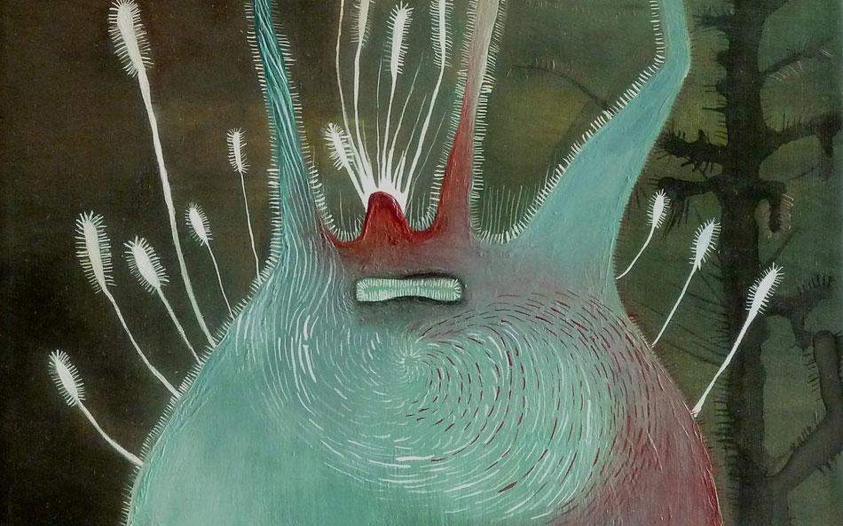 Tiefseewesen (Ausschnitt)  | Gouache, Tusche und Acrylfarbe auf Leinwand | 32 x 24 cm