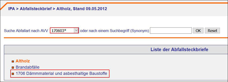 Quelle: Informations - Portal - Abfallbewertung - IPA > Abfallsteckbrief > Altholz, Stand 09.05.2012