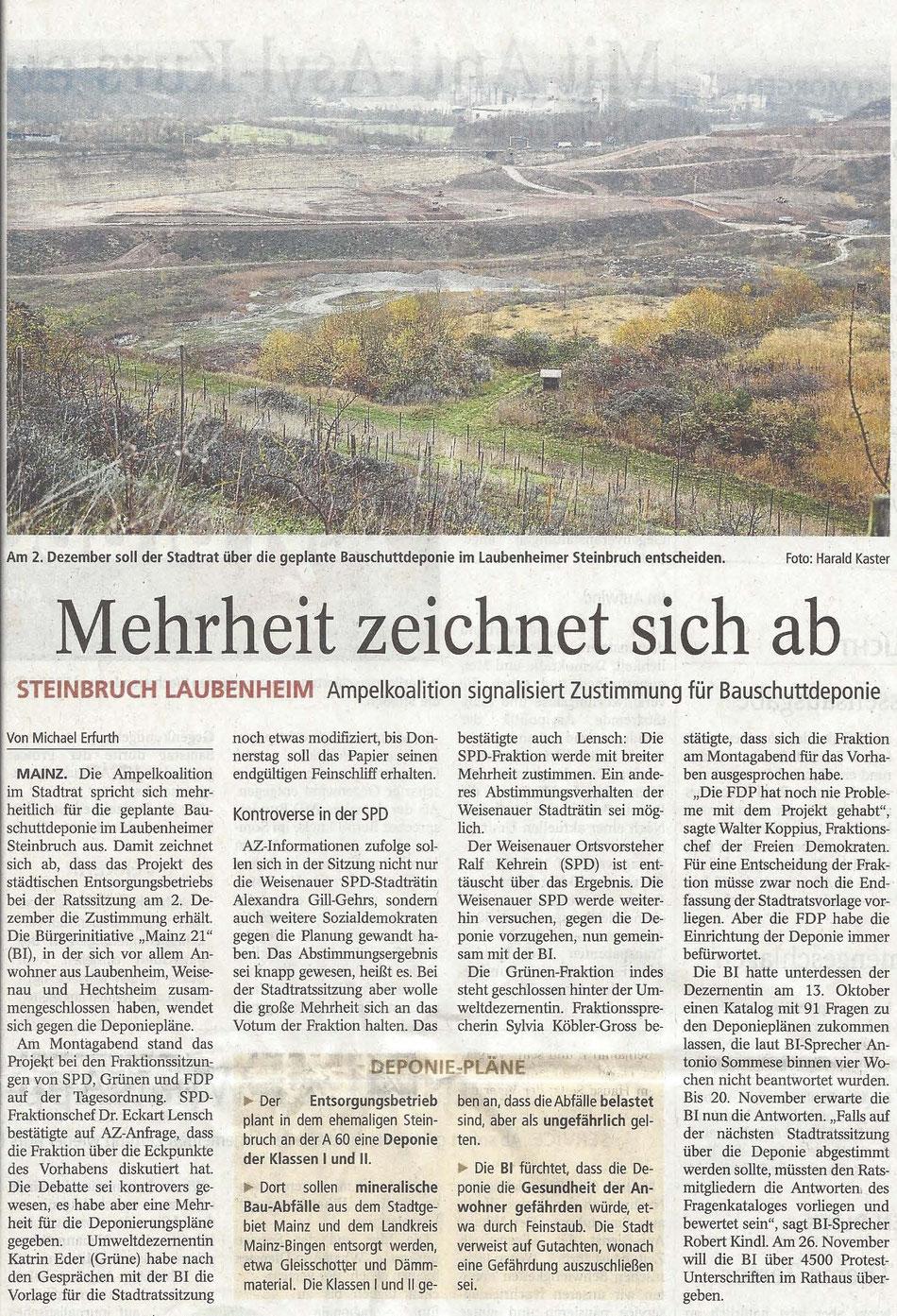 Am 2. Dezember soll der Stadtrat über die geplante Bauschuttdeponie im Laubenheimer Steinbruch entscheiden. Foto: Harald Kaster