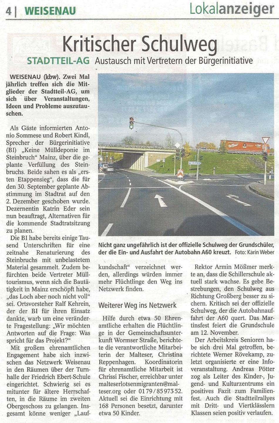 Nicht ganz ungefährlich ist der offizielle Schulweg der Grundschüler, der die Ein- und Ausfahrt der Autobahn A60 kreuzt. Foto Karin Weber