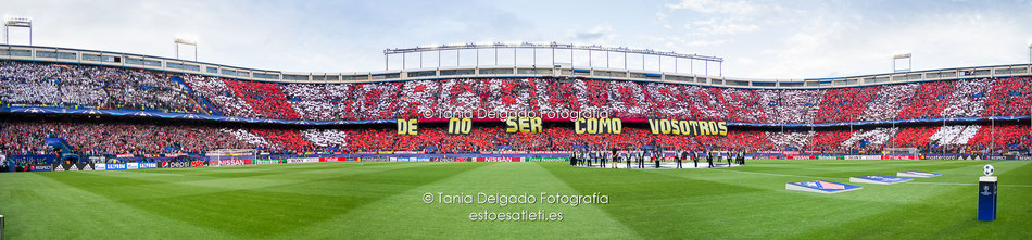 orgullosos, de no ser como vosotros, atletico de madrid, vicente calderon, uefa champions league, Real Madrid, tifo, mosaico, panoramica, semifinales