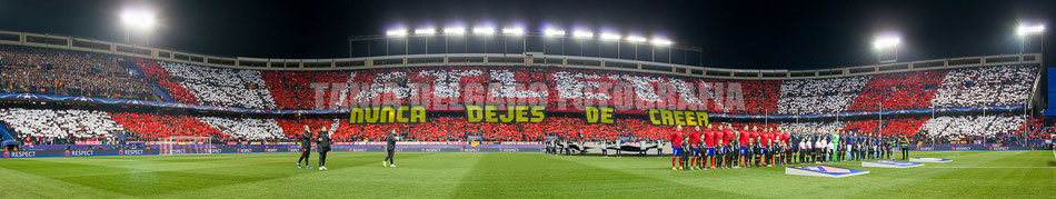 Partido Atlético de Madrid (1-0) psv, eindhoven, tifo, mosaico, champions league, octavos, uefa, nunca dejes de creer