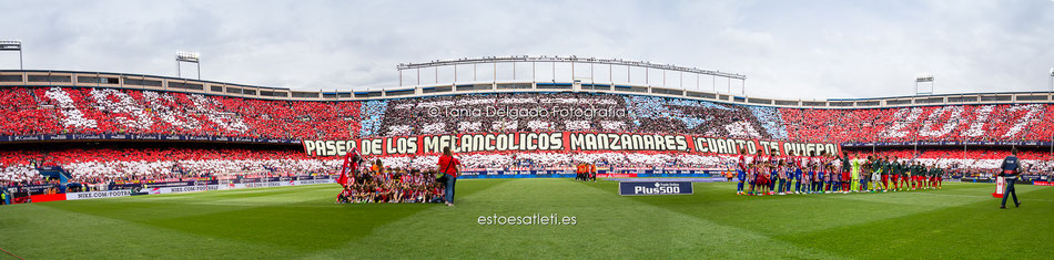 Tifo, panorámica, mosaico, atletico de madrid, paseo de los melancolicos manzanares cuanto te quiero, despedida Vicente Calderón, último partido vicente calderón