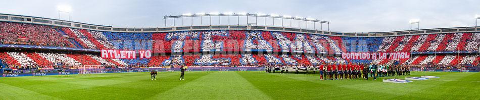 Partido Atlético de Madrid (1-0) Bayern Munich, tifo, mosaico, champions league, semifinales, uefa, atleti yo te amo contigo a la final