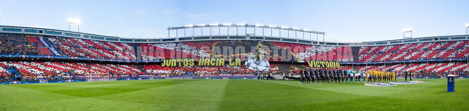 Partido Atlético de Madrid (1-0) barcelona, tifo, mosaico, champions league, cuartos, uefa, juntos hacia la victoria