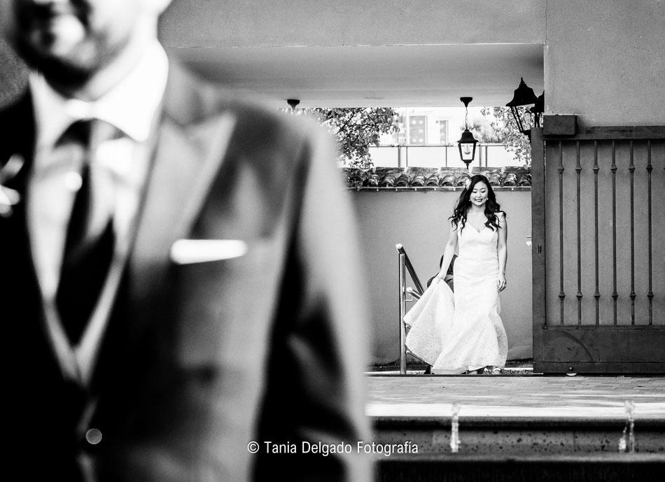 boda, reportaje, sesión de fotos, tania delgado, matrimonio, fotografia de bodas, solimpar, velo, madrid, blanco y negro