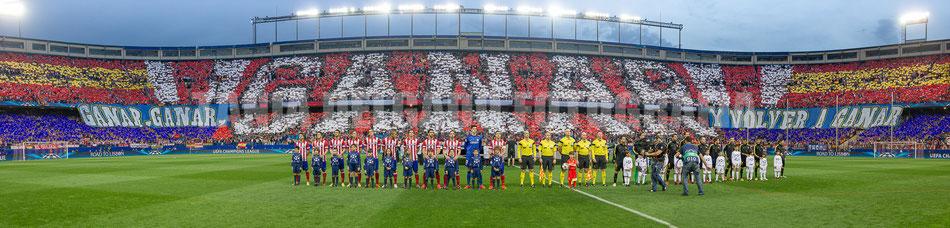 Partido Atlético de Madrid (1-0) barcelona, tifo, mosaico, champions league, octavos, uefa, ganar