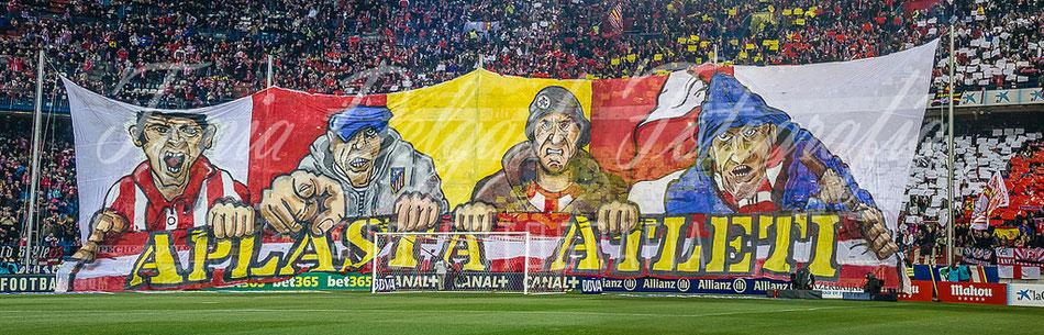 Partido Atlético de Madrid (0-0) barcelona, tifo, mosaico, aplasta, atleti, ligabbva