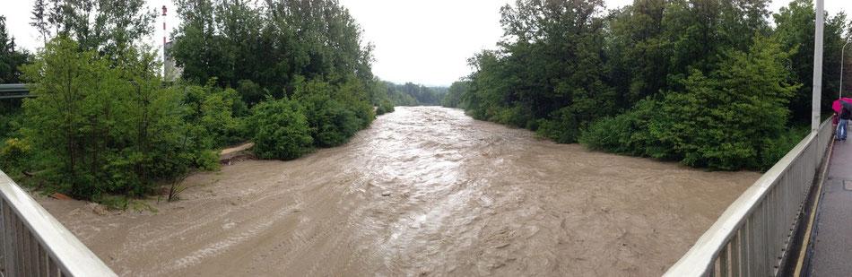 Links sieht man, wie das Ufer weggebrochen ist - DAS IST MEIN GASSI-WEGLI!!!