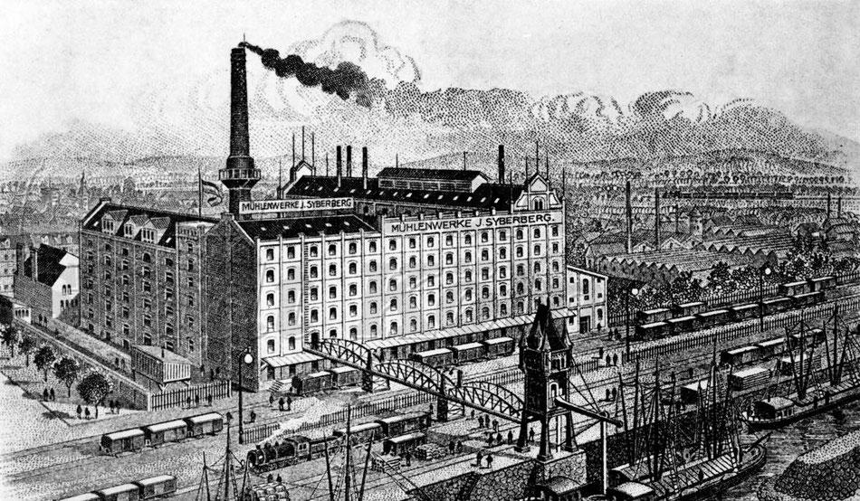 Mühlenwerke J. Syberberg, Mülheim am Rhein um 1890.