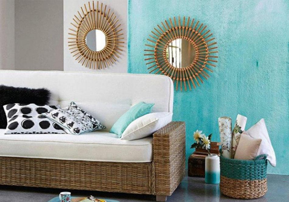 Danaé Balland décoration blog rotin miroirs soleil Laredoute