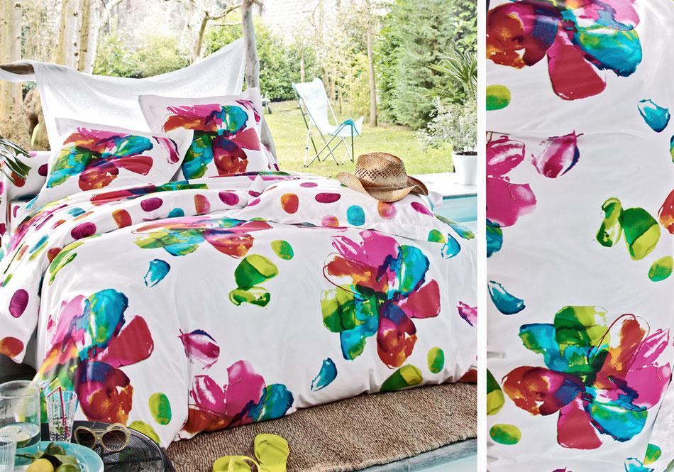 Linge de lit fleurs coloré Becquet
