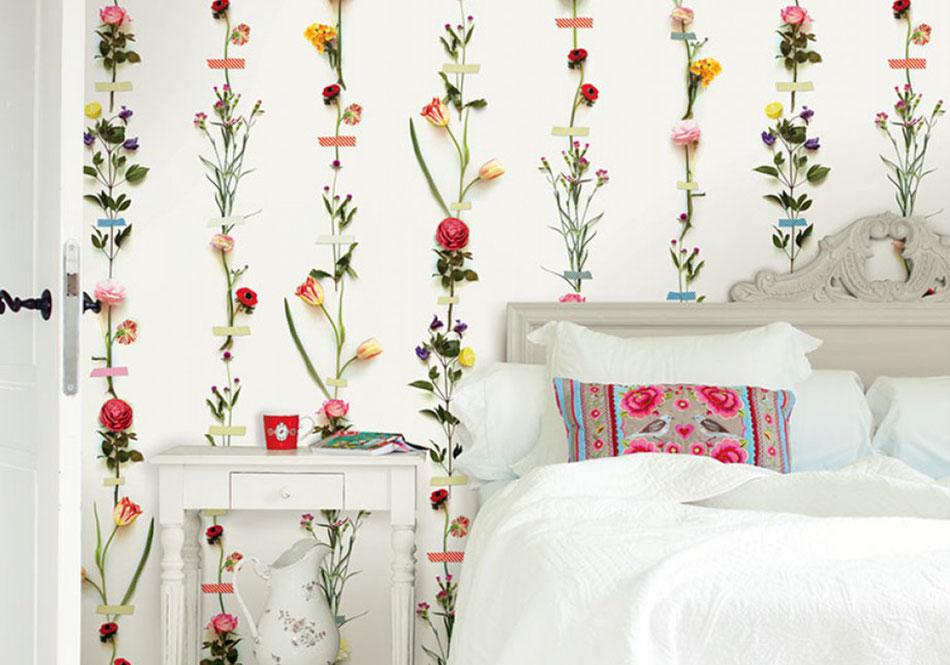 Décoration papier peint floral trompe l'oeil