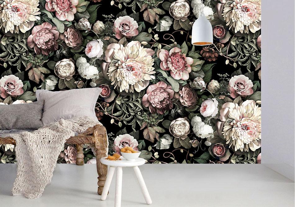 Décoration papier peint floral baroque