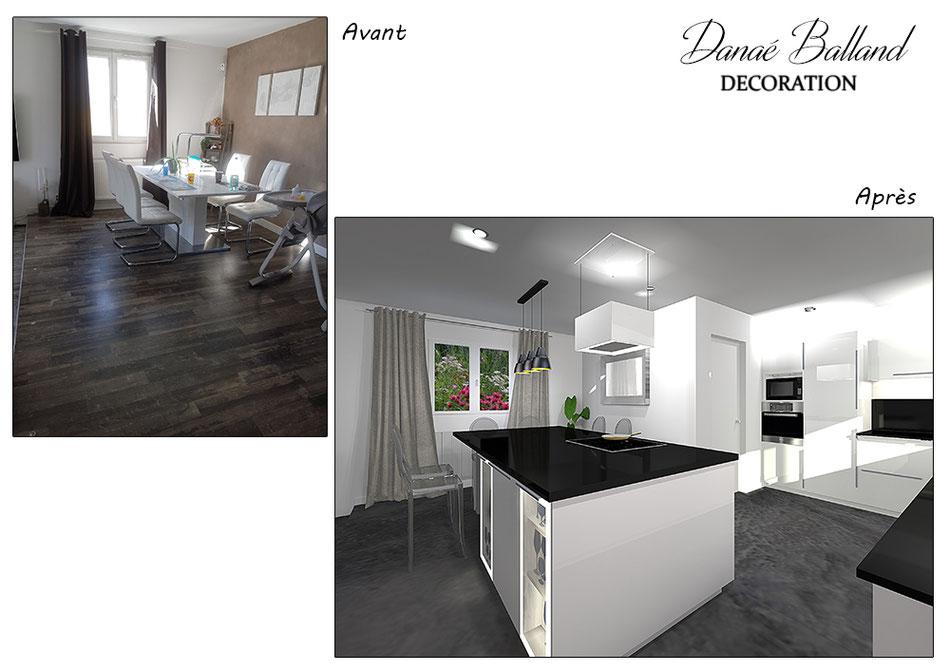 Aménagement conception cuisine ouverte ilot central décorateur architecte intérieur