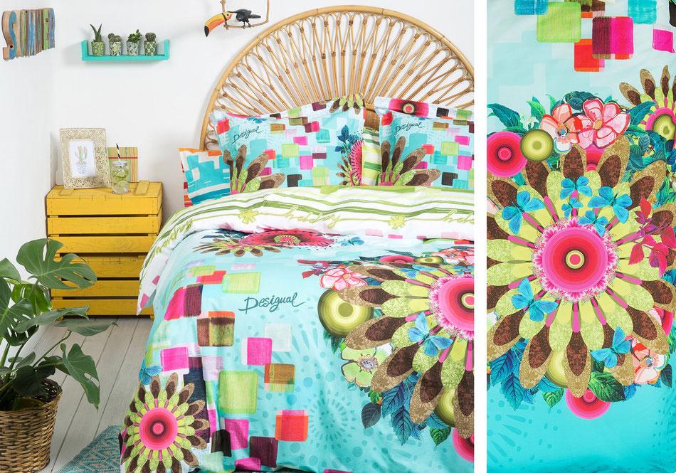 Linge de lit fleurs colorés Desigual