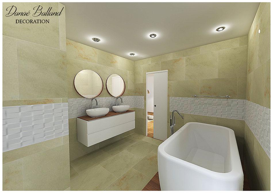 Salle de bain moderne décoration design baignoire ilot