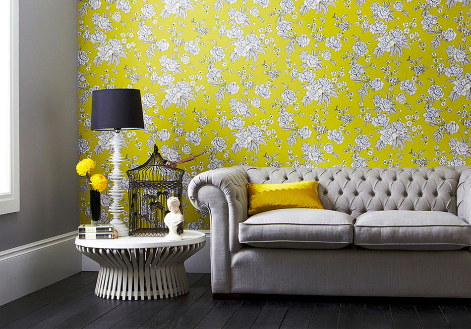 Décoration papier peint floral jaune
