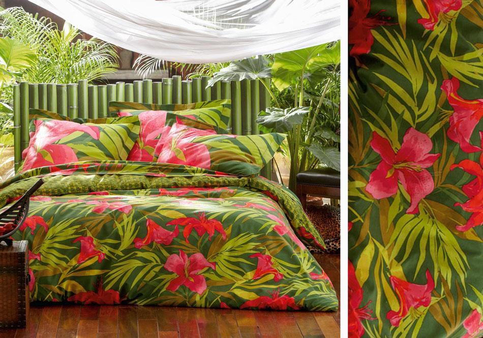 Linge de lit fleurs hibiscus exotique